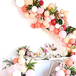 Pink and blush balloon garland for mimosa bar for bridal shower or baby shower