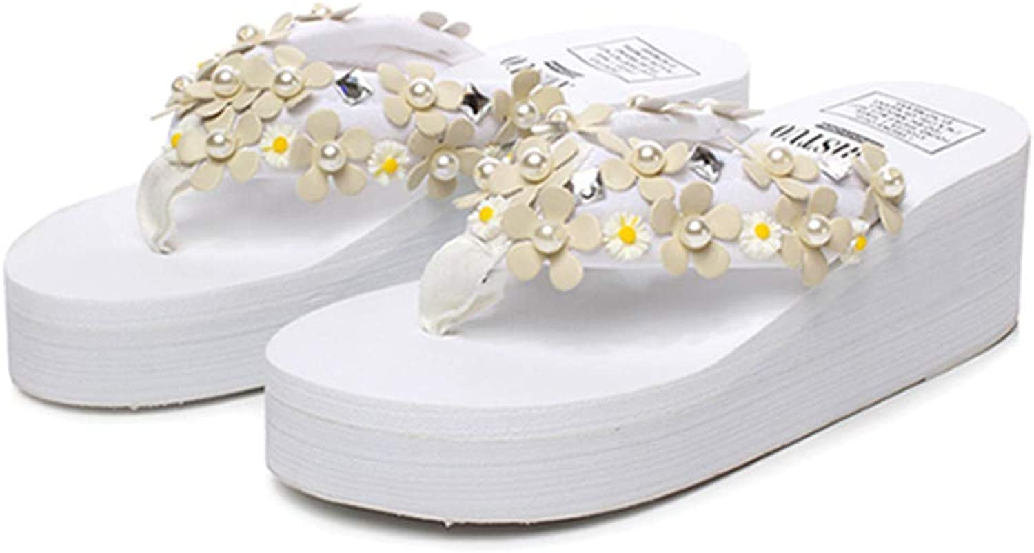 Women Small Daisy Beads Slide Platform Wedge Sandals Bohemia Summer Sweet Stylish Anti-Slip Beach Flip Flops