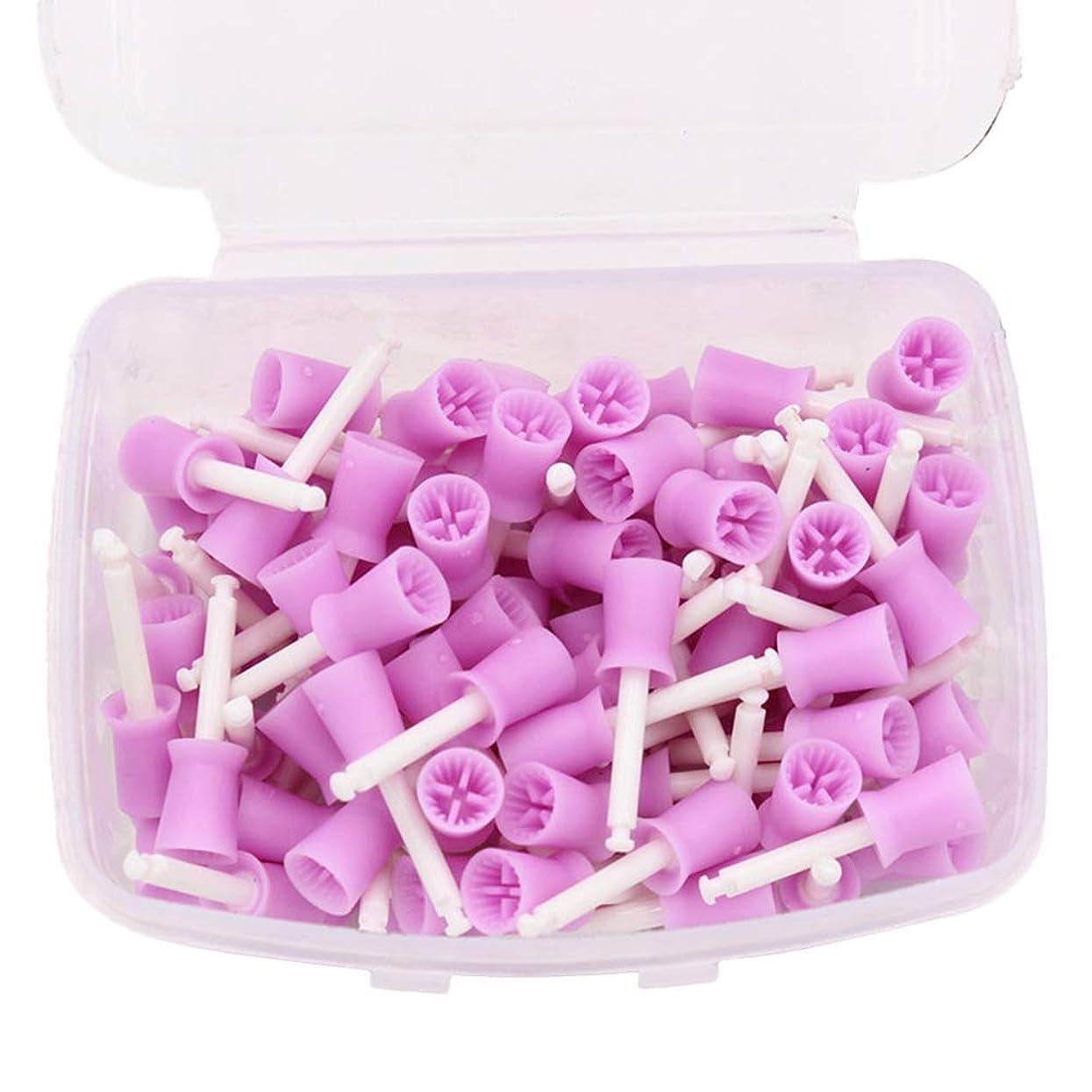 プロトタイプ複製する性別Healifty ポリッシュ研磨カップブラシ100本歯科用研磨ゴムカップ使い捨て低速歯ポリッシャーカップオーラルケアツール(紫)