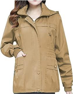 QIQIU Womens Zipper Windshield Long-Sleeve Drawstring Hooded Solid Fashion Winter Coat Cardigan Outdoor Outwear