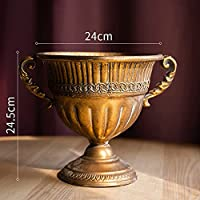 ヨーロッパスタイルのレトロな古い錬鉄製花瓶フラワースイカズマッツポットゴブレットクラシックフローラル飾り1pc (Color : O)