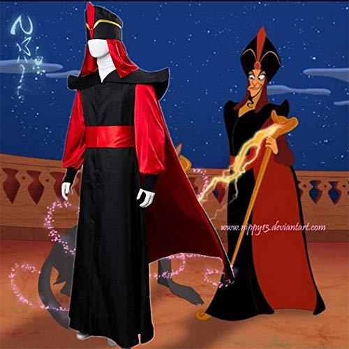 Cosplay Ropa Cuentos de Las mil y una Noches Aladdin Villain Jafar Hombres Trajes de Traje Rojo Negro Disfraces de Halloween Traje de Bata Sombrero Traje L