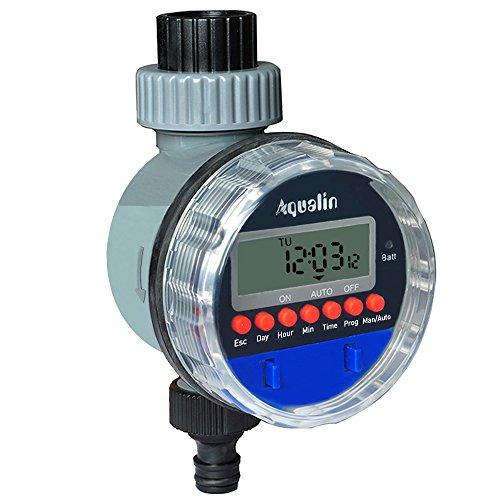 Aqualin Bewässerungsuhr mit Kugelhahn Automatischer Bewässerungscomputer Bewässerungssystem Wasser Zeitschaltuhr für Garten Hof, Farbe Blau