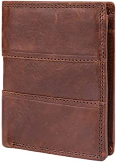 LIMING Men's Business Wallet Leather Rfid Free Wallet Buckle Wallet Card Package,Size:12 * 10 * 2CM,Colour:Brown (Color : ...