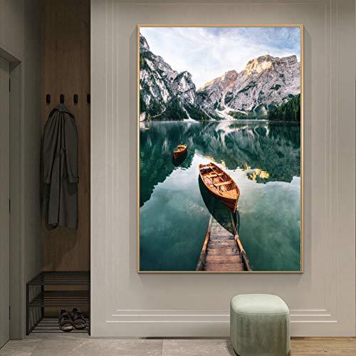 Póster de paisaje moderno, cuadro de barco y lago, lienzo artístico, pintura de pared para decoración de sala de estar, pinturas murales 40x50cm