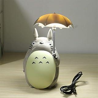 Mi Vecino Totoro Night Studio Ghibli Creativ Lámpara de Escritorio Lámpara de mesilla LED Ventilador Alimentado por USB Color Variado Vientre Blanco Adecuado para Cualquier Escritorio Dormitorio (A)