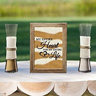 Exclusively Your LLC My Entire Heart for My Entire Life Rustic Barn Wood Wedding Sand Ceremony Frame Set, Unity Set, Sand Shadow Box Frame