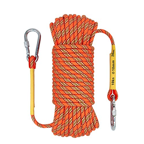 OXYVAN Outdoor Climbing Rope & Carabiner,10mm Static Rope,Fire Rescue Safety Rappelling Rope 32ft,49ft,64ft, Orange