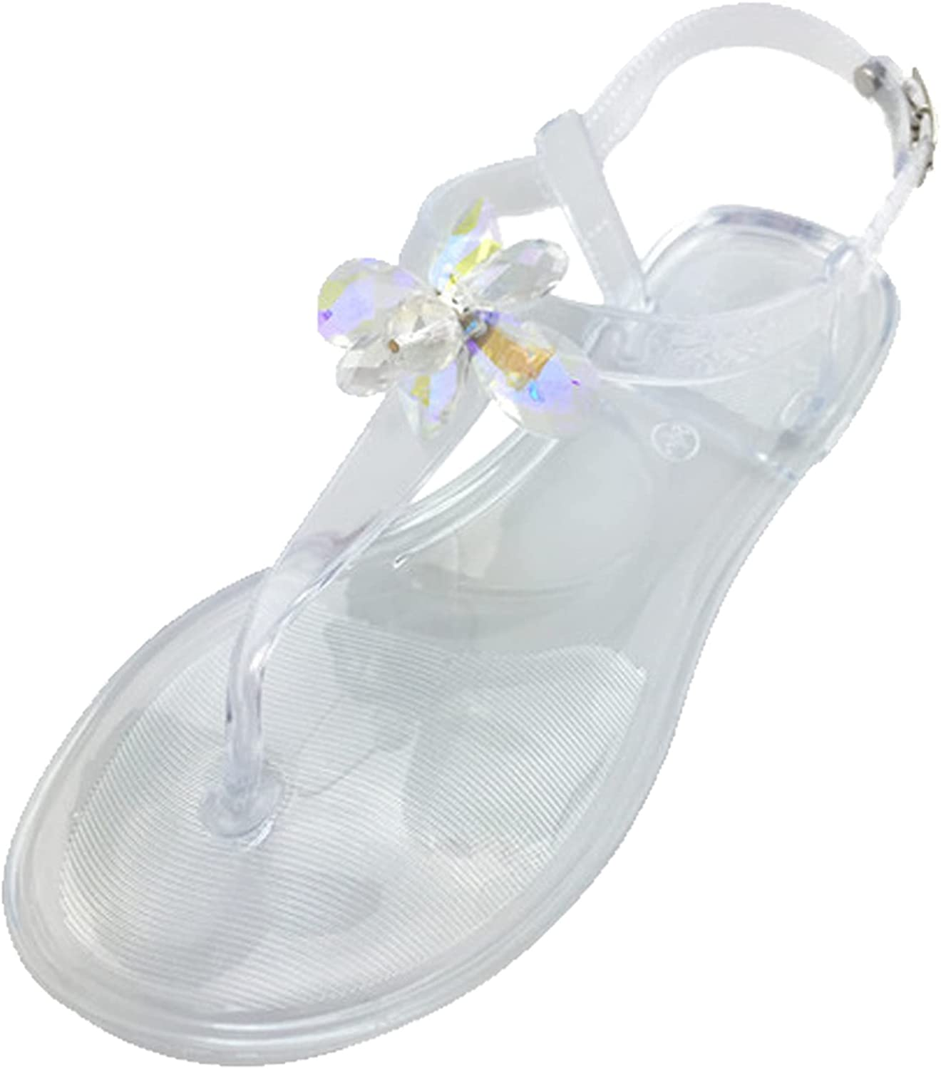 ZiSUGP Women's Flat Thong Sandals Comfortable Orthotic Sandals with Arch Support Beach Rhinestone Jelly Sandal Ladies Travel Walking Flats Shoes