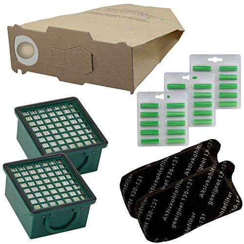 WAMOS   30 Staubsaugerbeutel 2 Filterset 30 Duftis geeignet für Vorwerk Kobold Vk 130 131 131 Sc