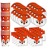 Fox Birthday Party Supplies Set Plates Napkins Cups Tableware Kit for 16