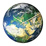ZHUAN Luminous Earth Reloj de Pared silencioso, Relojes Deco