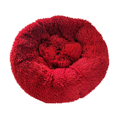 Best Price GOTDCO. Fluffy Round-Shaped Pet Cat & Dog Calming Bed Pads, Super Comfortable PV Pet Matt...