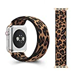 CreateGreat Elastic Band with Leopard Pattern Compatible with Apple Watch 38mm 40mm 42mm 44mm (Rose Golden Adapter for 42mm/44mm,Wrist Size: 6.0-6.4 inch S)