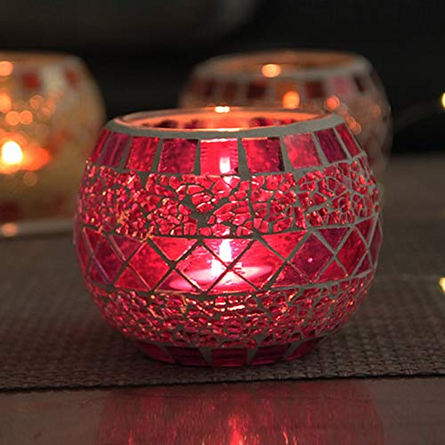 XCUGK Mosaic Glass Votive Candle Holder, Handmade Glass Candle Holder Tealight Candle Holder for Wedding Table Centerpieces, Parties and Home Decor