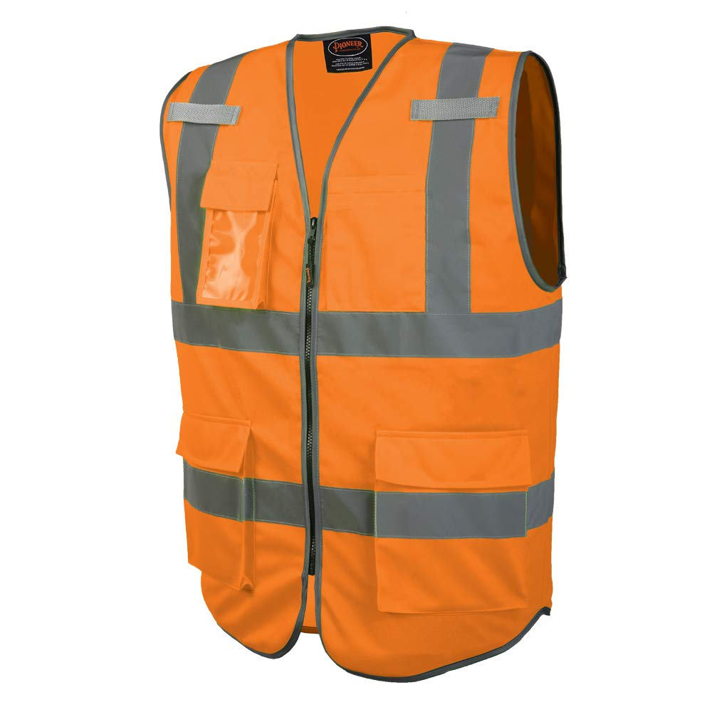 Pioneer Safety Vest for Men – Hi Vis Reflective Solid Neon, 9 Pockets, Zipper for Construction, Traffic, Security Work – Orange, Yellow/Green