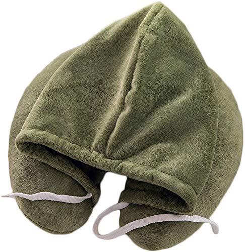 Hinleise Almohada de cuello con capucha suave de felpa lumbar almohada portátil en forma de U multifunción almohada de viaje para avión tren de coche