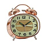 Orologio Sveglia in Oro Rosa Snooze Muto Pigro Luce Notturna Doppia Campana Moderna Moda Semplice Letto Bella personalità Creativa casa 10.3 cm * 5 cm * 12.5 cm MUMUJIN