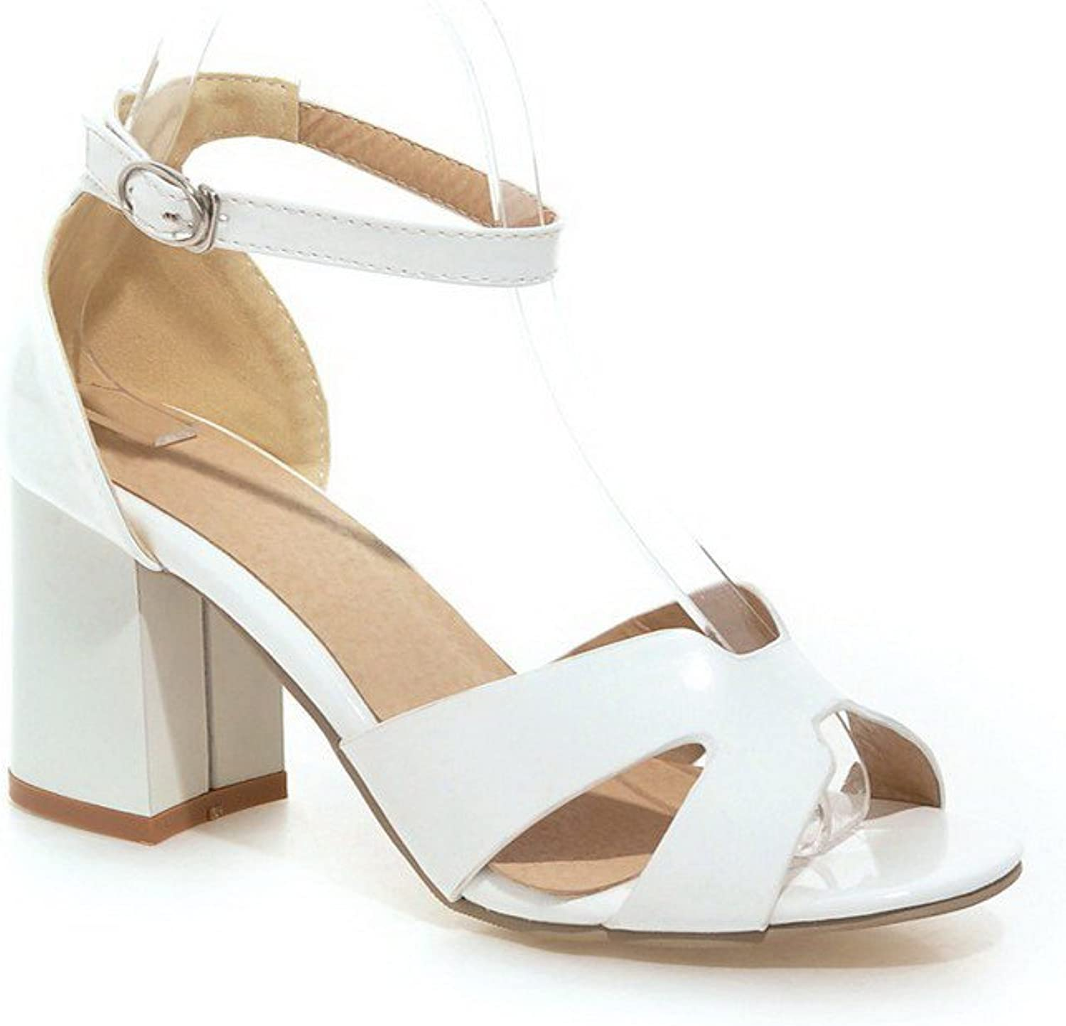 AmoonyFashion Women's High-Heels Patent Leather Solid Buckle Open Toe Heeled-Sandals