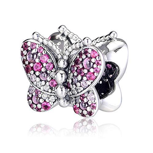 PANDOCCI 2019 Primavera Rosa abbagliante Farfalla Bead 925 Argento Fai da Te Adatto per Originale Pandora bracciali Gioielli Moda Fascino