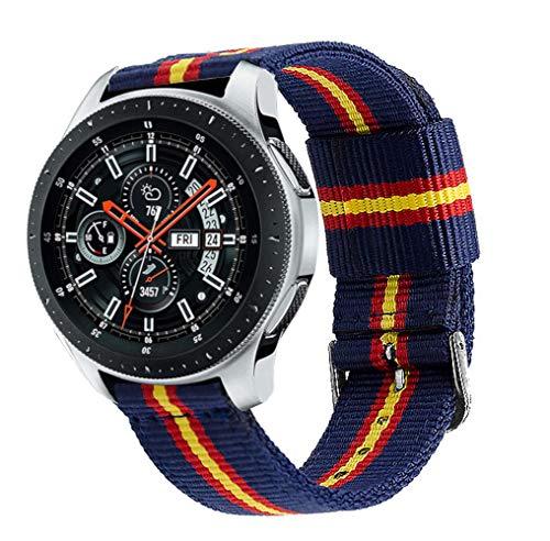 Estuyoya - Pulsera de Nailon compatible con Samsung Galaxy Watch 3 45mm/ Gear S3 Frontier / Classic / Colores Bandera de España 22mm Ajustable Transpirable Deportiva Casual Elegante - Otan