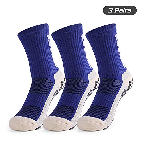 Lixada Herren Anti-Rutsch-Fußballsocken Sportsocken Fußball High Tube Socken 1 Paar/3 Paar, blau, 3 Paar