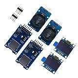 ZHITING - Kit orologio in tempo reale, 2 pezzi con schermo LCD OLED da 0,96 pollici, display LED 128 x 64, blu con 2 moduli DS3231 AT24C32 IIC RTC + 2 driver per lettore di schede Micro SD Mini TF