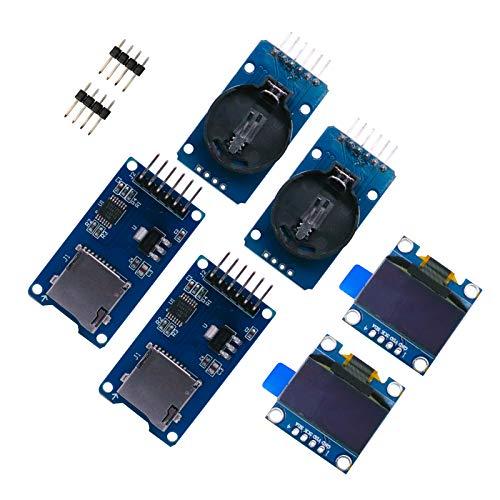 ZHITING Echtzeit-Uhr-Set, 2 Stück 2,4 cm (0,96 Zoll) IIC OLED LCD-Bildschirm, LED 128 x 64 Display, blau, mit 2 DS3231 AT24C32 IIC RTC Uhrmodulen + 2 Stück Micro-SD-Mini-TF-Kartenadapter-Leser-Treiber