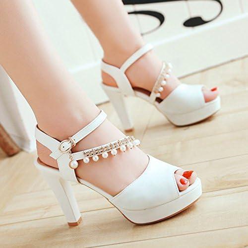 YMFIE été Sandales à Talons Hauts Mesdames Mode Perle Sexy Poisson Bouche Chaussures Dames Hauts Talons