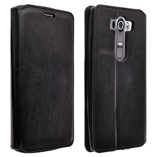 Microseven Compatible with LG V10 LG G4 Pro Case (TMOBILE/VERIZON/AT&T) Cover, Magnetic Leather Flip Slim Folio Wallet Pouch with Kickstand 2 Credit Card Slot (Black Executive Wallet)