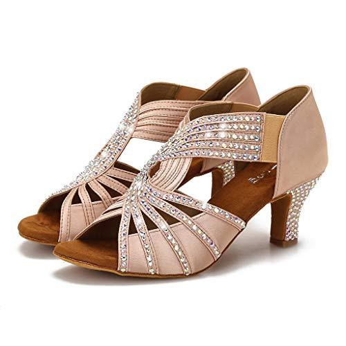 YYTing Rhinestones Ballroom Dance Shoes Women Latin Salsa Practice Wedding Indoor Crystal Shoes 2.5in Heels YT05(9,Nude)