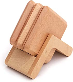 6-piece set of walnut coasters with a set of coaster insulation pads. The wooden table top protects the drink coaster. Bar...