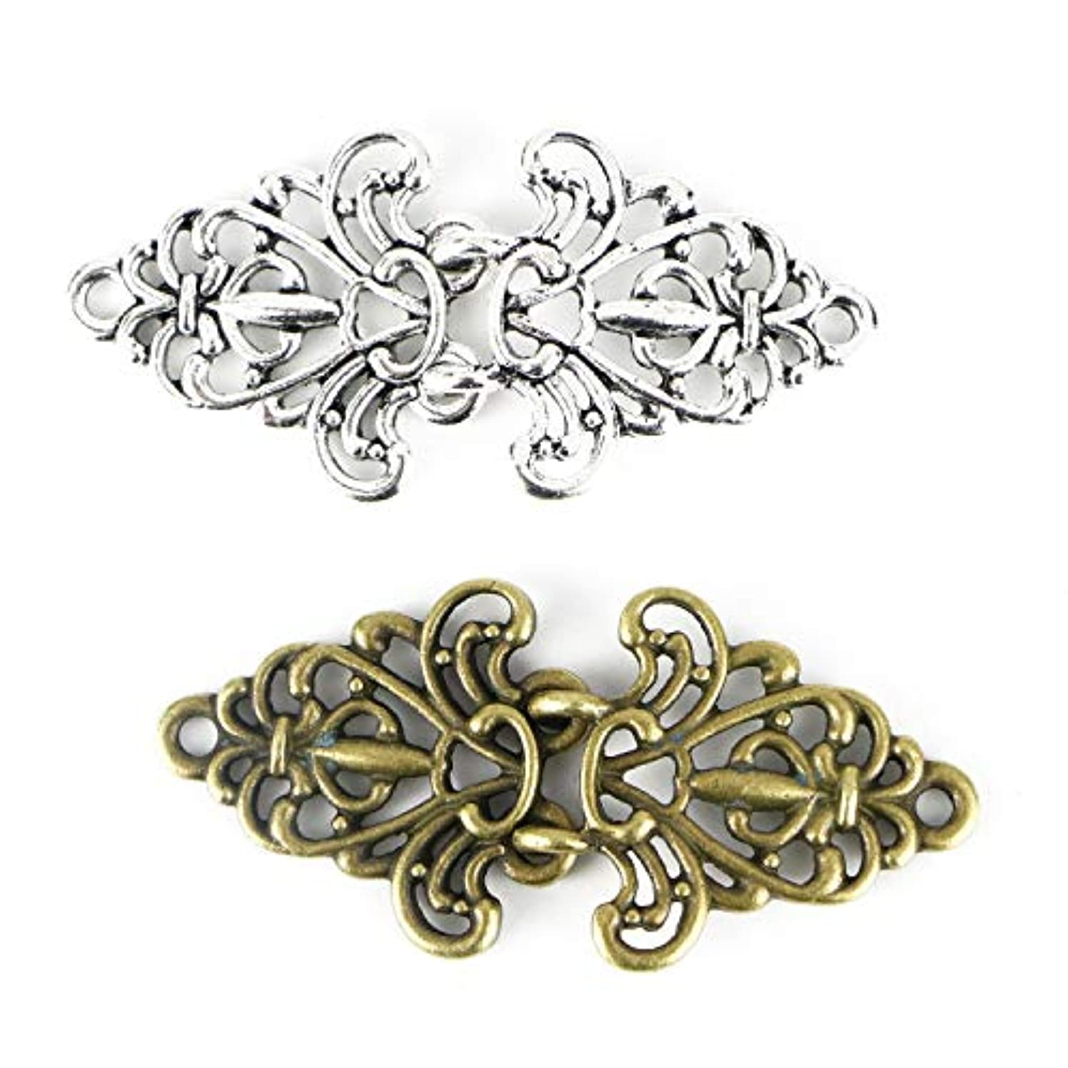 Monrocco 4 Pairs Flower Cape or Cloak Clasp Fasteners 64mm x 29mm
