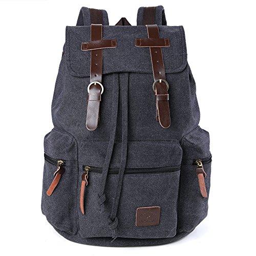 borsa zaino uomo tela forte a spalla molto bello alla moda alta qualita' Vintage Tela Canvas Pelle Trekking Viaggi Zaino Militare Messaggero Tote Bag (Nero)