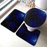 XHYYY Juego de alfombras de baño Stella Space Landscape Distant Stars Cresent Juegos de alfombras Antideslizantes para alfombras de baño, Cubierta de Almohadilla par