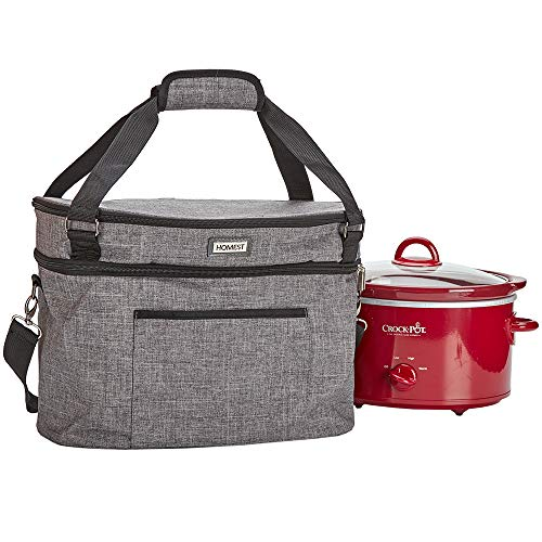 HOMEST Slow Cooker Travel Bag with Easy to Clean Lining, Insulated Carrier with Zippered Accessory Pocket, Carry Case Compatible with Crock Pot 4-5 Quart (Patent Pending)
