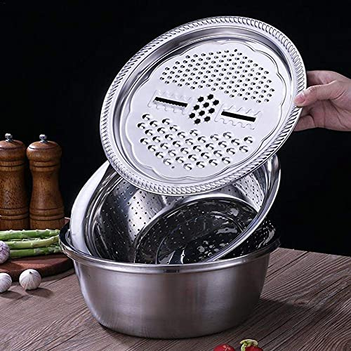PAKEY Kitchen Graters Cheese Grater, Stainless Steel Drain Basket Vegetable Cutter, 3 in 1 Kitchen Multipurpose Julienne Grater, for Vegetables Fruits Cheese Chocolate