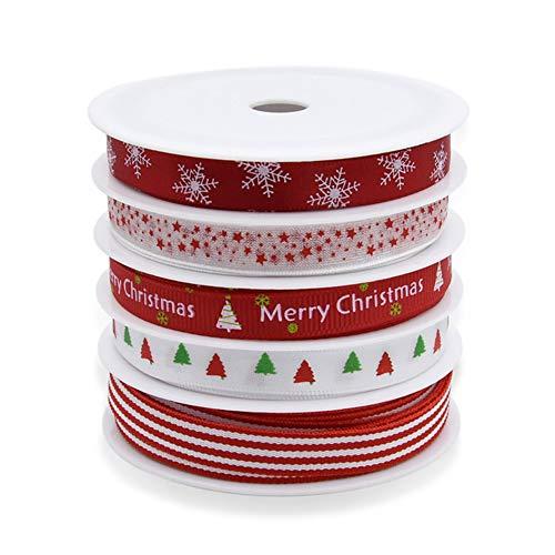 Pveath - Set di 5 rotoli di nastri grosgrain, 5 m, colorati, a tema natalizio, in poliestere/raso a doppia faccia, per festività invernali, matrimoni, confezioni regalo, fiocchi e altri progetti