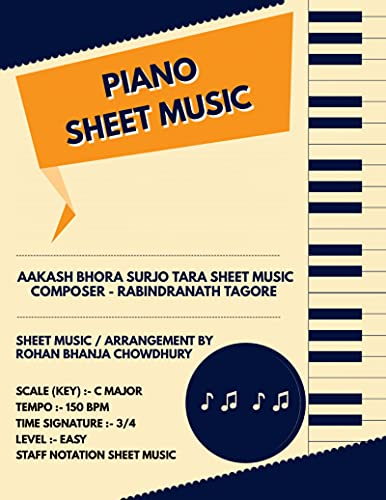 Aakash Bhora Surjo Tara Staff Notation Sheet Music: Rabindranath Tagore Songs On Piano Staff Notation Sheet Music