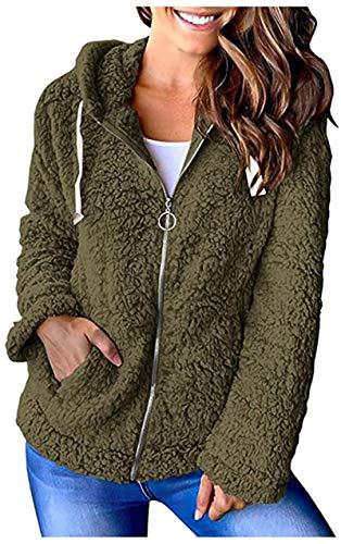 NAMAMI Abrigos de invierno para mujer, de manga larga, con cremallera, con bolsillos, color verde, XL