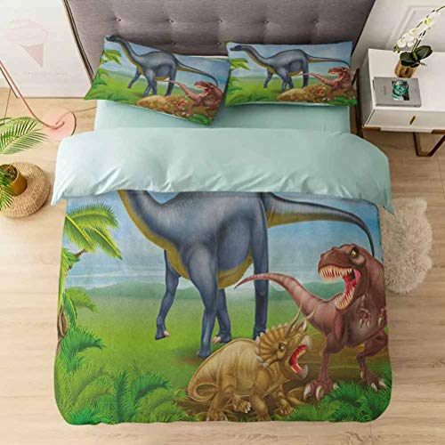 Duvet Cover Set, Different Types of Dinosaurs Natural Jungle Environment T-Rex Triceratop, 1 Duvet Cover with 2 Pillowcases-Hypoallergenic, Easy Care, Soft and Durable, Multicolor
