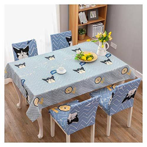 GUOCU Tischdecke Wasserdicht Fleckschutz Pflegeleicht Baumwolle Leinen Rechteckige Tischtuch Küche Esszimmer Party Tischdecke Stuhl Tuch Set Hund 140 * 210