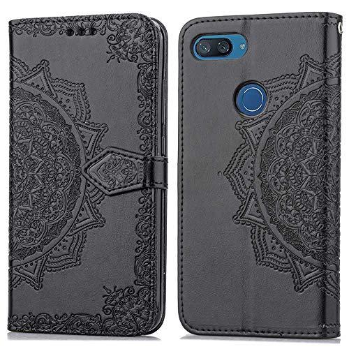 Bear Village Hülle für Xiaomi MI 8 Lite, PU Lederhülle Handyhülle für Xiaomi MI 8 Lite, Brieftasche Kratzfestes Magnet Handytasche mit Kartenfach, Schwarz