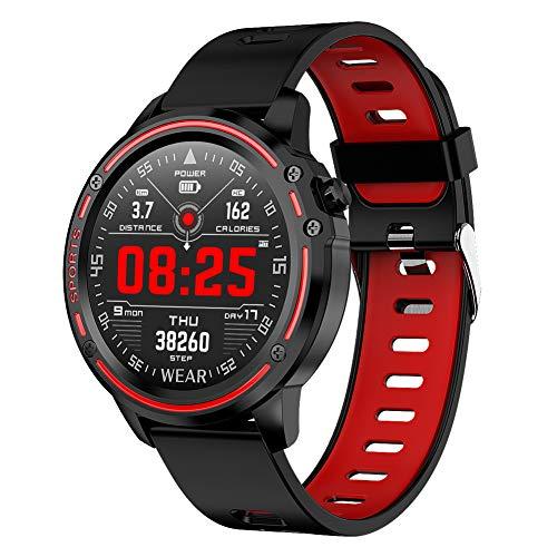 Padgene IP68 wasserdichte Sport Fitness Uhr Voller Touchscreen Smartwatch Sportuhr Fitness Tracker Armbanduhr mit EKG Blutdruck Blutsauerstoff Pulsmesser für Damen Herren(184Rot)