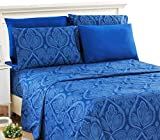 Lux Decor Collection Bed Sheet Set - Brushed Microfiber 1800 Thread Count Bedding - Wrinkle, Stain & Fade Resistant - Deep Pocket Queen Size Sheets Set -6 PC (Queen, Paisley Navy Blue)