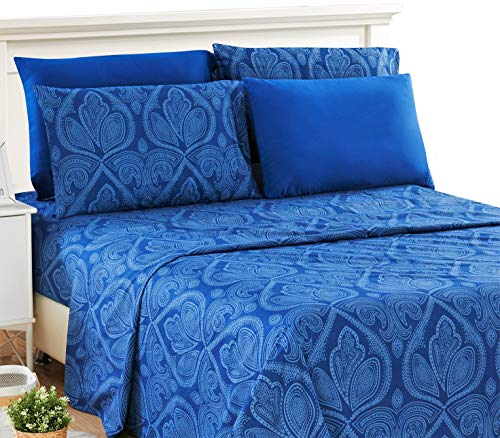 Lux Decor Collection Bed Sheet Set - Microfiber 1800 Bedding - Wrinkle, Stain and Fade Resistant - Hypoallergenic - deep Pocket Pattern Queen Bed Sheets -6 Piece (Queen, Paisley Navy Blue)