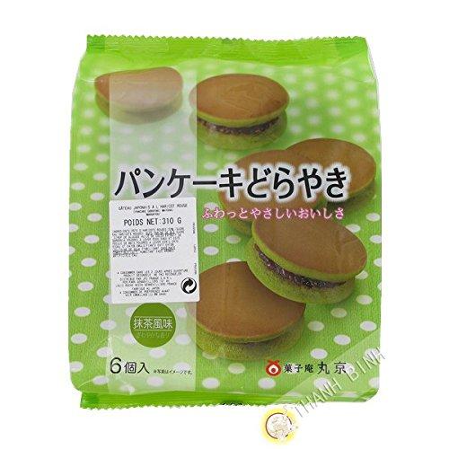 Panqueque de matcha té verde y de frijol rojo Dorayaki Matcha 6pcs MARUKYOU 310g de Japón - Pack de 2 uds