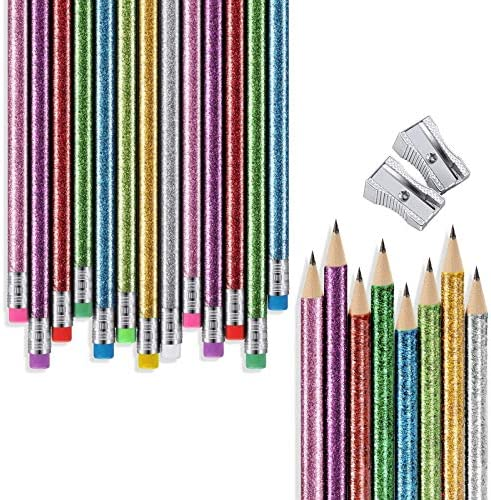 32 Pieces Glitter Colored Pencils Wood Bright Pencils Colorful Round Pencils with Top Eraser product image