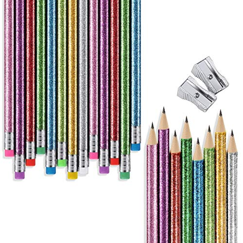 32 Pieces Glitter Colored Pencils Wood Bright Pencils Colorful Round Pencils with Top Eraser and 2 Pieces Pencil Sharpeners for Coloring Book Art Craft
