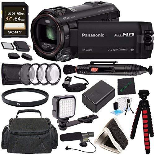 Panasonic HC-W850 Twin Camera Full HD Camcorder MFR # HC-W850K + Sony 64GB SDXC Card + Spacious Carrying Case + SD/microSD Memory Card Reader + Memory Card Wallet + Tripod + Video Condenser Mic Bundle -  GreensCameraWorld, HC-W850K-030117-5